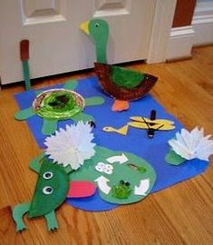 Pond life crafts....the duck is cute!