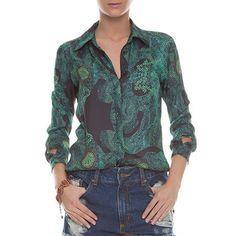 FYI - Camisa FYI print esmeralda - verde e preta - OQVestir