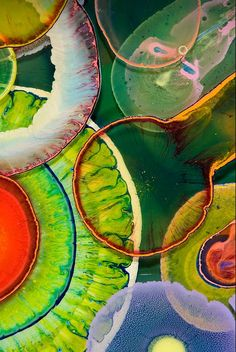 Bruce Riley Organic resin drip paintings... Paint dripped onto resin...