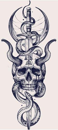 Sketch Style Tattoos, Skull Tattoo Design, Tattoo Design Drawings, Clever Tattoos, Cute Tattoos, Body Art Tattoos, Skull Sleeve Tattoos, Tattoo Sleeve Designs, Gotik Tattoo
