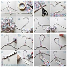 DIY Ideas With Old Hangers Renew  old hanger with a piece of material