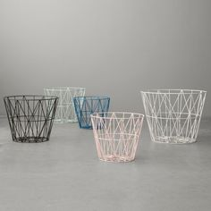 Wire Basket small von ferm Living im Shop – house – Korb Wooden Basket, Wire Basket, Blanket Basket, Scandinavia Design, Metal Side Table, Iron Wire, Nordic Interior, Interior Design, Large Baskets