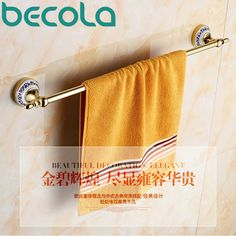 Free shipping BECOLA Single Towel Bar Gold Plated Towel Rack Solid Brass Towel Holder Bathroom Accessories BR-5509