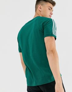 adidas Originals 3-Stripes T-shirt in green | ASOS Adidas Retro, Clc, Green Fashion, Adidas Originals, Asos, Polo Ralph Lauren, Stripes, Meet, Mens Tops