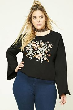 Forever 21+ - A French terry knit sweatshirt featuring a front floral and butterfly embroidery, long bell sleeves, a round neckline, and a raw-cut hem and cuffs.
