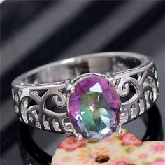 Silver Plate Multicolored CZ Hollow Ring Sz 7 Silver Multicolor Cubic Zirconia purple colors, Hollow Ring Size 7. Brand new with tags Jewelry Rings
