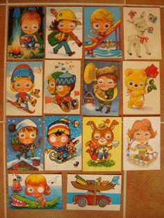 mrkacie pohladnice Retro 2, Retro Toys, Moving Eyes, Vintage Paper, Vintage Postcards, Childhood Memories, Dolls, Illustration, Painting