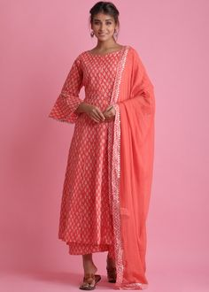 #orange #readymade #anarkali #suit #stylish #indian #salwar #kameez #eid #dresses #pakistani #suits #heavy #work #dupatta #ootd Red Kurta, Readymade Salwar Kameez, Cotton Anarkali, Pakistani Suits, Lace Detail, Printed Cotton, Bell Sleeves, High Neck Dress, Stylish