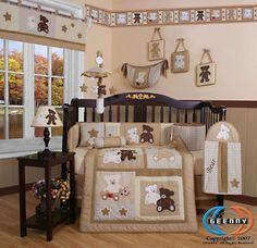 cool Teddy Bear Baby Boy or Girl Nursery CRIB BEDDING SET 14PCS Including Mobile Check more at http://harmonisproduction.com/teddy-bear-baby-boy-or-girl-nursery-crib-bedding-set-14pcs-including-mobile/