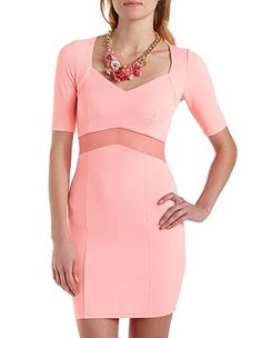 Mesh Inset Bodycon Textured Knit Dress: Charlotte Russe