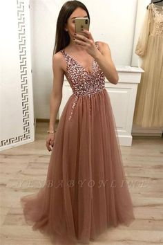 Sexy V Neckline Tulle Beaded Prom Dress, Long Evening Party Dress, Pretty Homecoming Dress for Teens – New Dresses Pretty Homecoming Dresses, A Line Prom Dresses, Dresses For Teens, Wedding Party Dresses, Modest Dresses, Pretty Dresses, Evening Dresses, Dresses Dresses, Long Dresses
