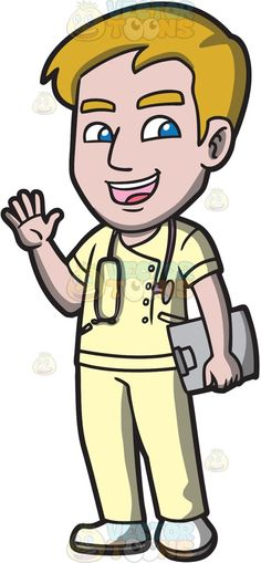 A friendly male nurse saying hello :  A man with blonde hair wearing a set of yellow hospital scrubs white shoes black stethoscope around his neck parts his lips to greet wholesomely right hand raised to wave hello as left hand carries a gray clipboard  The post A friendly male nurse saying hello appeared first on VectorToons.com.