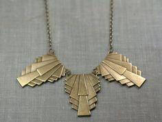 Art deco statement necklace 1920s style brass by mylavaliere