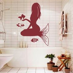 Mermaid Wall Decals Fish Decal Vinyl Sticker Bathroom Window Baby Nursery Bedroom Home Decor Dorm Interior Art Murals Dear Buyers, Welcome to our shop!