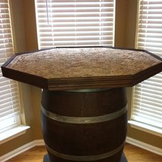 Wine Cork Table Top With A Wine Barrel Base, My Husband Made This!