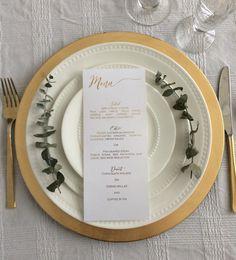 Gold foil menu card/ dinner menu/ wedding menu/ by TradeandUnion Blush Wedding Centerpieces, Wedding Reception Table Decorations, Cheap Wedding Decorations, Summer Centerpieces, Wedding Table, Wedding Card Wordings, Wedding Menu Cards, Wedding Invitations, Wedding Places