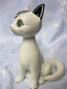 Vintage Hand Painted Porcelain Cat Figurine Italy | eBay