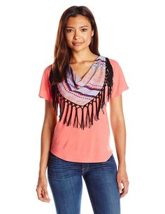 31cb3ca8d0076 NY Collection Women s Petite Short Sleeve Dolman Top with Printed Fringe  Scarf   This is an Amazon Affiliate link. You can get more details by  clicking on ...
