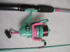 I need this POLE pink and green striker fishing pole | Pink and green color coordinated Filled with 12lb Mono