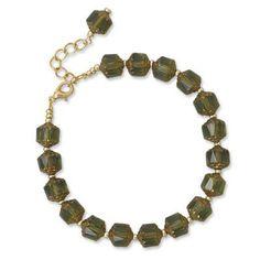 """7""""+1"""" Green Glass Fashion Bracelet"""