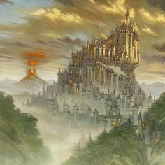 """This gorgeous #LordoftheRings #oilpainting by William O'Connor (@woconnorstudios) is entitled """"Race to Minas Tirith. In this piece inspired by the works of J.R.R. Tolkien Minas Tirith towers above the surrounding landscape standing as a beacon of hope as the capital of Gondor the Kingdom of Men.  However glorious this monolithic city might be though the destructive force of Mount Doom looms in the distance with the shadow of its volcanic clouds spreading over the land. The glowing tower of… Lord Sauron, Minas Tirith, Beacon Of Hope, Bride Book, White City, Dark Skies, Process Art, Fantasy Artwork, Fantasy World"""