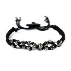 MEX - men's black gold nugget macrame bracelet | © VELINA