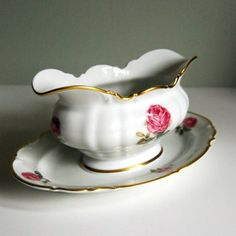 Vintage Gravy Boat, Hutschenreuther Dundee Rose China