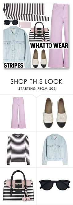 """""""Stripes"""" by alexa-girl2 ❤ liked on Polyvore featuring STELLA McCARTNEY, Chanel, MaxMara, Yeezy by Kanye West, GUESS, Le Specs and Kenzo"""