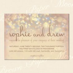 Champagne Sparkles Wedding Invitation  7 x 5 by BrownPaperMoon