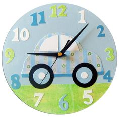 Kids Car Clock, Boys Nursery Decor, Gifts for Boys Baby Boy Gifts, Gifts For Boys, Diy Clock, Clock Wall, Clock Decor, Wall Decor, Room Decor, Wall Art, Clock For Kids