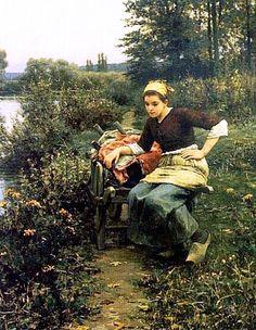 Daniel Ridgeway Knight - Woman In Landscape