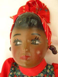 Noir femme poupée / / tête écharpe rocaille par CedarCoveRetro