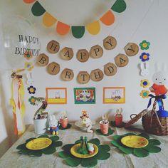 先日2歳になった娘のバースデーはMiffyちゃんをテーマに飾り付けしました* Boy Birthday, Happy Birthday, Miffy, 1st Anniversary, Baby Party, Birthday Party Decorations, Happy Day, Crafts For Kids, Presents