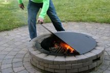 Steel cover for your fire pit. Keep the ashes in and the kids out when not in use.