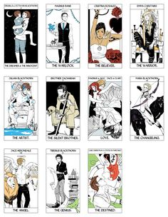 Tarot Deck Part 1/6: The first eleven cards of the Major Arcana portion of the Tarot Deck done by Cassandra Jean featuring characters from Cassandra Clare's books. ( TMI, TID, TDA, and TLH) WARNING: Spoilers in cards