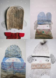 Denitsa Boyadzhiev - Use fabric or scan and print really textured fabric to make the coats and hats.  use yarn or other fuzzy/woolly materials for hair.
