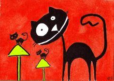 NFAC 'Magic Mushrooms' e9Art Cat ACEO Fantasy Whimsical Surrealism Original Art #Surrealism