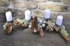 Tauch ein in den Glitzerwald, Adventskranz aus Holz / Take a walk in the sparkling forest, advent calendar by Moneria via DaWanda.com