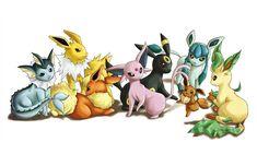 Drawn by syunrii ... vaporeon, jolteon, flareon, espeon, umbreon, eevee, glaceon, leafeon, pokemon