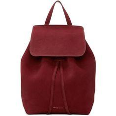 Mansur Gavriel Burgundy Suede Mini Backpack ($585) ❤ liked on Polyvore featuring bags, backpacks, studded backpack, padded backpack, drawstring knapsack, red backpack and suede backpacks