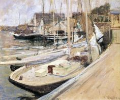Fishing Boats at Gloucester, by John Henry Twachtman, 1901 - oil on canvas. Location:  Smithsonian Museum of American Art, Washington, D.