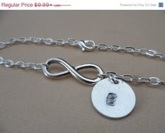 Year End Sale Infinity and Initial Bracelet or by DaniJessBoutique