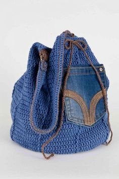 Upcycled Denim Bag: crochet pattern for purchase Crochet Shell Stitch, Crochet Tote, Crochet Handbags, Crochet Purses, Love Crochet, Diy Crochet, Crochet Crafts, Denim Bag Patterns, Knitted Bags