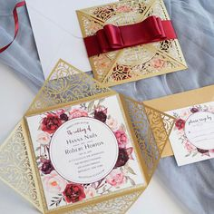 splendid spray – gold shimmer laser cut fold with satin ribbon burgundy floral wedding invites Wedding Matches, Chic Wedding, Elegant Wedding, Rustic Wedding, Dream Wedding, Winter Wedding Colors, Blush Wedding Invitations, Burgundy Wedding, Cookies Et Biscuits