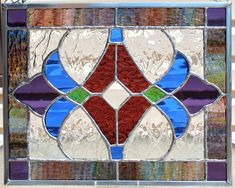 Purples Blue and Green Stained Glass Panel by GoodGriefGlass, $59.00