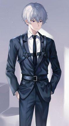 Cool Anime Guys, Cute Anime Boy, Boy Character, Cute Anime Character, Kaito, Anime Suit, Boy With White Hair, Anime Play, Anime Devil