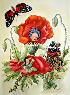 Schmetterlingszauber -     For flamenconut, who loves the little fairies.    From Schmetterlingszauber (German children's book), 1950, by Anny Kohler, illustrated by Mila Lippmann-Pawlowski.