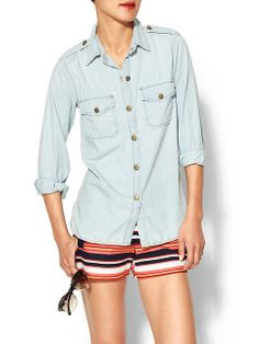 Love the Current/Elliott shirt with striped shorts.