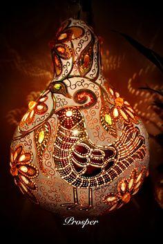 Prosper. Painted & bejeweled gourd lamp $200.00, via Etsy.