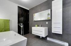 carrelage gris et déco moderne de salle de bain